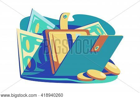 Open Wallet With Cash Vector Illustration. Purse