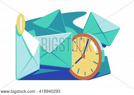 Mail Timing And Marketing Vector Illustration. Email