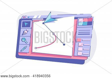Modern Device With Graphic Vector Illustration. Interface