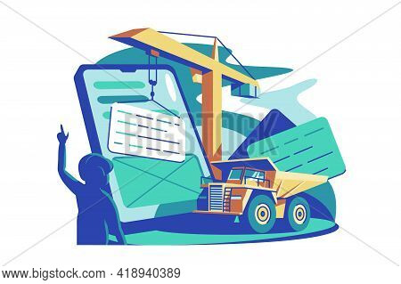 Online Service Building Tool Vector Illustration. Online