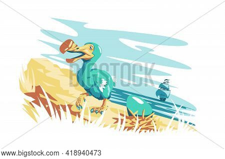 Cute Dodo Bird With Egg Vector Illustration