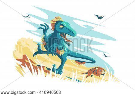 Blue Angry Dino Raptor Vector Illustration. Wild