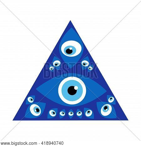 Amulet Evil Eye Isolated. Talisman To Protect Against Evil Eye.