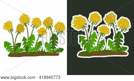 Dandelions In The Style Of A Child's Drawing With Doodles And Dandelions In The Form Of A Sticker