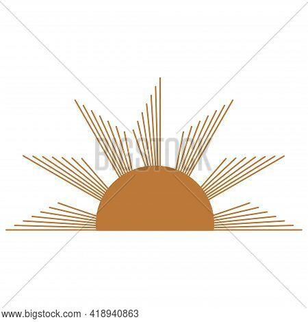 Magic Concept, Half Vintage Sun, Trending Beige. Figure Astrology, Boho Design, Pagan Symbols For Di