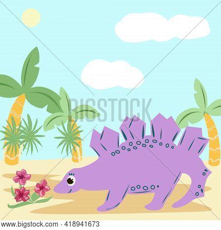 Purple Stegosaurus Looks At The Flowers. Illustration For Children On The Theme Of Prehistoric Anima