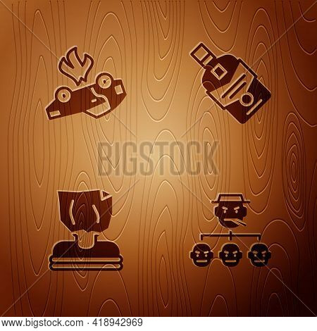 Set Mafia, Burning Car, Kidnaping And Whiskey Bottle On Wooden Background. Vector