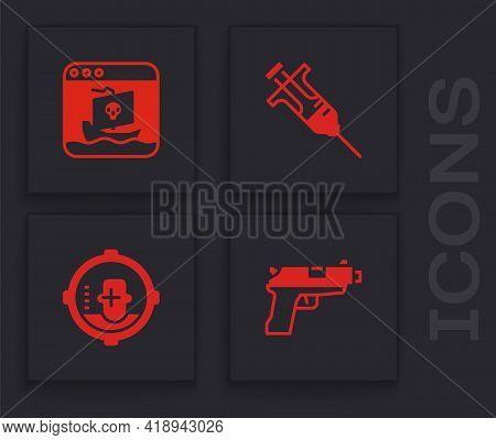 Set Pistol Or Gun, Internet Piracy, Syringe And Headshot Icon. Vector
