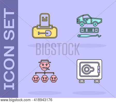 Set Safe, Grave With Tombstone, Mafia And Car Theft Icon. Vector