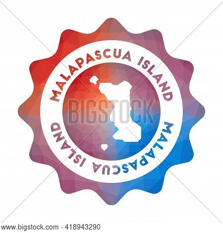 Malapascua Island Low Poly Logo. Colorful Gradient Travel Logo Of The Island In Geometric Style. Mul