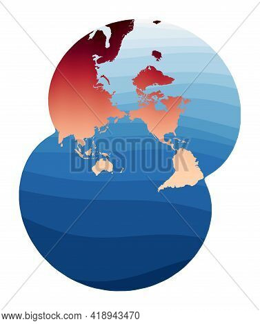 World Map Vector. Modified Stereographic Projection For The Pacific Ocean. World In Red Orange Gradi