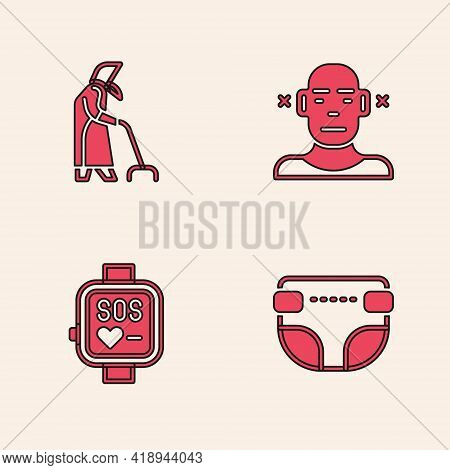 Set Adult Diaper, Grandmother, Deaf And Smart Watch Icon. Vector