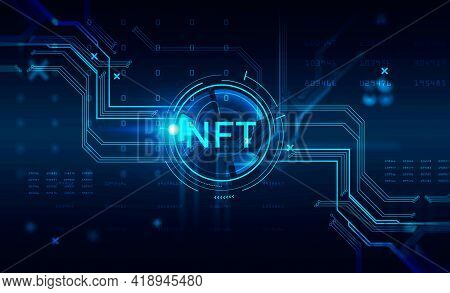 Non-fungible Token Hologram On Virtual Screen, Nft With Network Circuit And Numbers. Dark Background