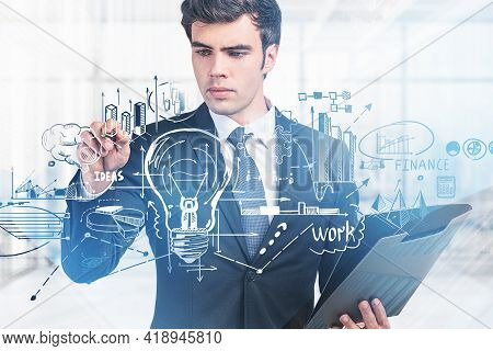 Office Man Pen Point Hud Of Business Process Icons And Light Bulb, Documents In Hand. Drawing With A