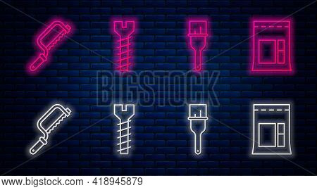Set Line Metallic Screw, Paint Brush, Hacksaw And Cement Bag. Glowing Neon Icon On Brick Wall. Vecto