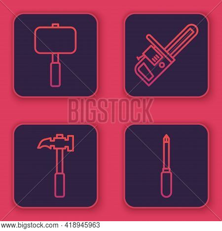 Set Line Sledgehammer, Claw Hammer, Chainsaw And Screwdriver. Blue Square Button. Vector