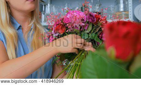Professional Woman Floral Artist, Florist Making Beautiful Wedding Bouquet At Workshop, Flower Shop.