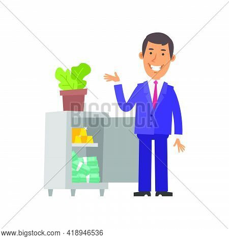 Businessman Points To Safe And Smiles. Safe With Gold And Money. Vector Characters. Vector Illustrat