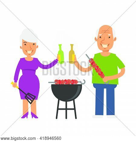 Old Woman Holding Kitchen Spatula And Beer. Old Man Holding Barbecue And Beer. Vector Characters. Ve