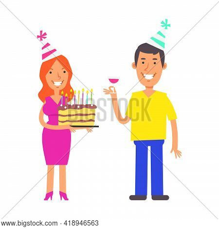Young Woman Holding Cake. Young Man Holding Glass Of Wine. Birthday Of Man. Vector Characters. Vecto