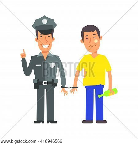 Police Officer Holding Drunk Man In Handcuffs. Vector Characters. Vector Illustration