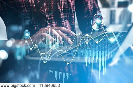 Businesswoman Hands, Fingers On Touchpad. Double Exposure Of Stock Market Changes, Blue Bar Chart An