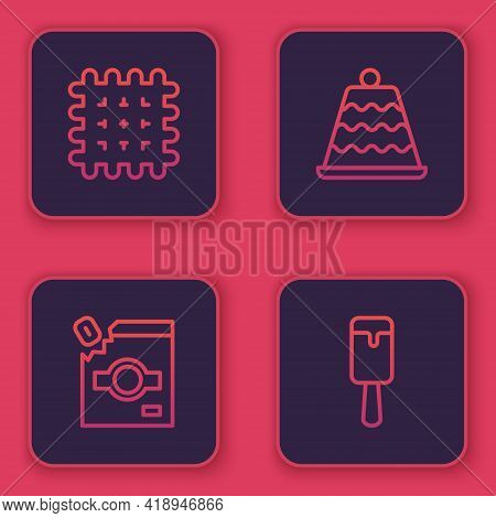 Set Line Cracker Biscuit, Candy Packaging For Sweets, Cake And Ice Cream. Blue Square Button. Vector