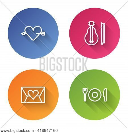 Set Line Amour With Heart And Arrow, Violin, Envelope Valentine And Plate, Fork Knife. Color Circle