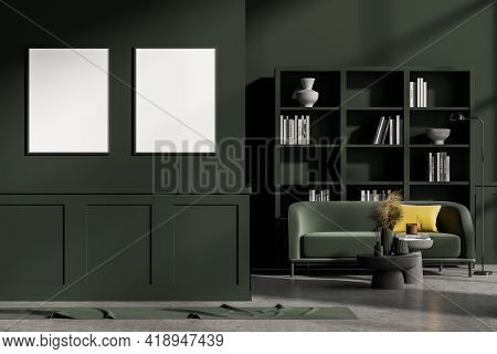 Modern Living Room Interior With Concrete Floor, Furniture, Table And Sofa. Home Architecture Concep