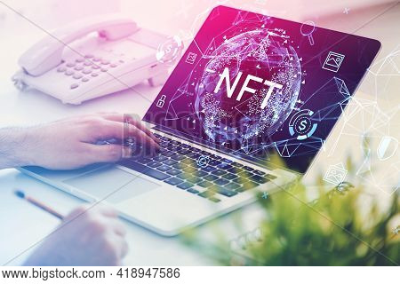 Man Hands With Laptop On Table, Non-fungible Token Hologram On Screen, Nft With Network Circuit And