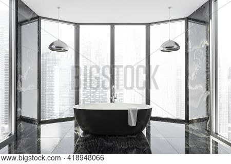 Modern Bathroom Interior In New Luxury Home. Stylish Hotel Room. Open Space Area. Marble Walls And F