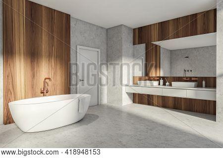 Modern Bathroom Interior In New Luxury Home. Stylish Hotel Room. Open Space Area. Concrete Wooden Wa