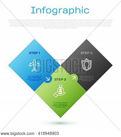 Set Line Plane, Life Insurance With Shield And Money Hand. Business Infographic Template. Vector