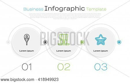 Set Line Balloons, Patriotic American Top Hat And Usa Independence Day. Business Infographic Templat