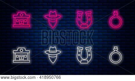 Set Line Cowboy, Horseshoe, Wild West Saloon And Canteen Water Bottle. Glowing Neon Icon On Brick Wa