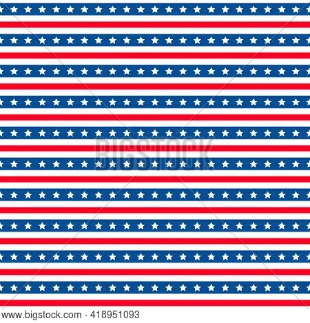 American Patriotic Seamless Pattern. Usa Traditional Background. Red Blue White Stars And Stripes Ba