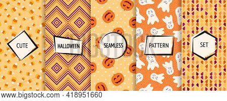Halloween Seamless Patterns Collection. Vector Set Of Funny Background Swatches With Modern Labels.