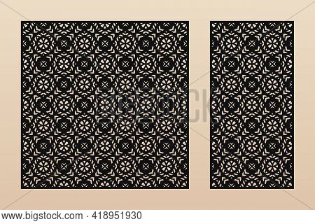 Vector Template For Laser Cutting. Elegant Pattern With Geometric Ornament In Arabian Style, Floral