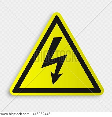High Voltage Sign. Danger Symbol. Black Arrow Isolated. Warning Icon Template For Your Design
