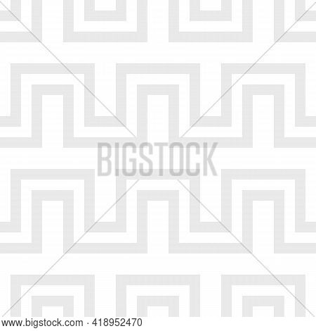 Vector Geometric Lines Seamless Pattern. Subtle Texture With Stripes, Horizontal Snake Lines, Zigzag