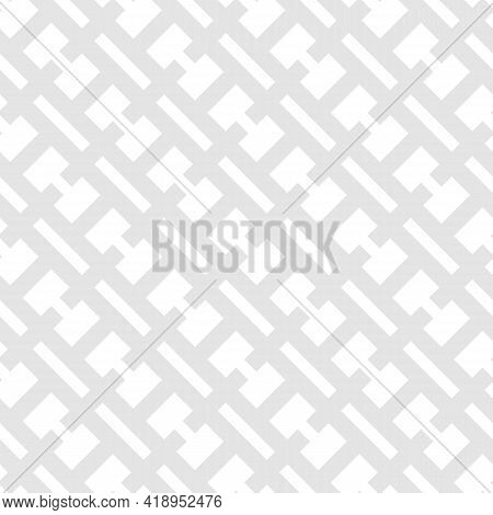 Vector Geometric Seamless Pattern. Subtle Abstract Texture With Diagonal Grid, Net, Grill, Lattice,