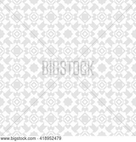 Subtle Vector Abstract Geometric Floral Ornament. Modern Ornamental Seamless Pattern With Grid, Latt