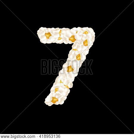 The Digit 7 Made Up Of Airy Popcorn. Vector Illustration.