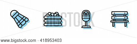 Set Line Trash Can, Badminton Shuttlecock, Pool With Balls And Bench Icon. Vector