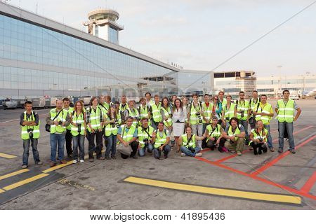 MOSCOW - SEP 01 : Group of spotters in Moscow airport Domodedovo, Sep 01, 2011, Moscow, Russia. Domodedovo - largest airport in Russia and Eastern Europe in terms of passenger traffic.
