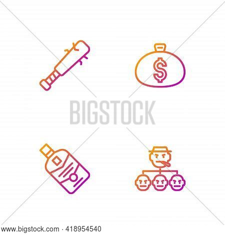 Set Line Mafia, Whiskey Bottle, Baseball Bat With Nails And Money Bag. Gradient Color Icons. Vector