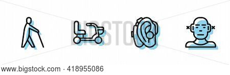Set Line Hearing Aid, Blind Human Holding Stick, Electric Wheelchair And Deaf Icon. Vector