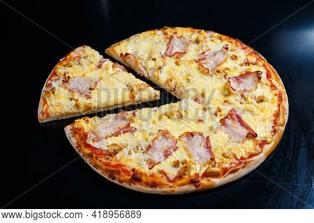 Chicken Breasts With Creamy Sauce And Grated Cheese On A Pizza. Tasty Fresh Pizza On A Thick Crust W