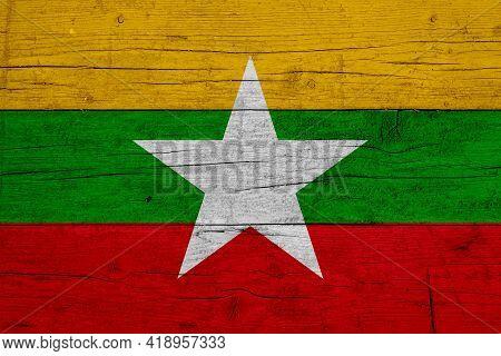 Flag Of Myanmar. Wooden Texture Of The Flag Of Myanmar.