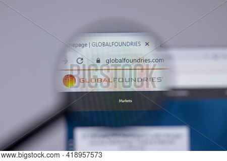 New York, Usa - 26 April 2021: Global Foundries Company Logo Close-up On Website Page, Illustrative